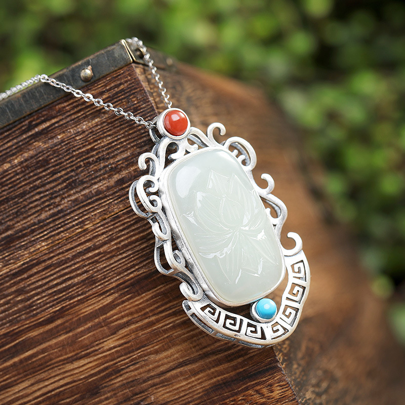 S925 pure silver pendant inlaid natural hetian white natural stone red green high end hanging round pearl pendant
