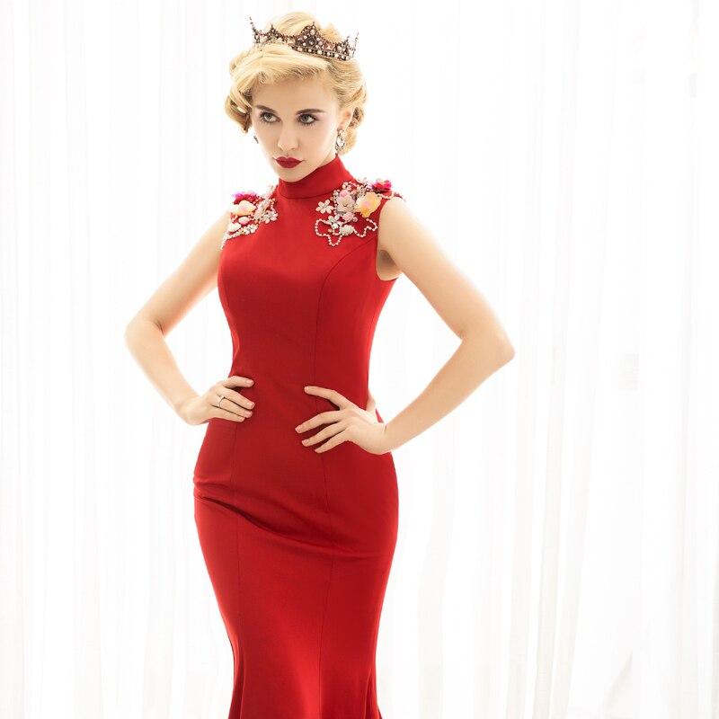 Красота Эмили 2017 пикантные красные Бисер Для женщин вечернее платье цветок высокое рукавов Русалка развертки Trian вечерние платья