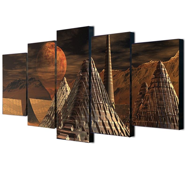 Leinwand Bilder HD Gedruckt Moderne Wandkunst 5 Panel Berg Ägypten ...