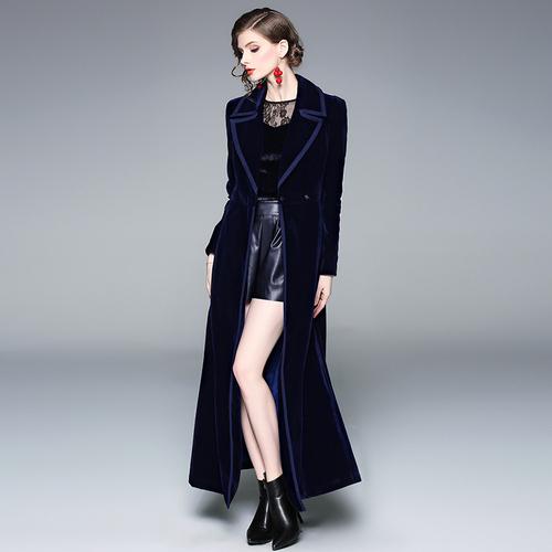 Fitaylor aksamitna kobiet wiatrówki z długim rękawem koronki Up Maxi wykop płaszcz żeński, moda, granatowy niebieski odzież wierzchnia