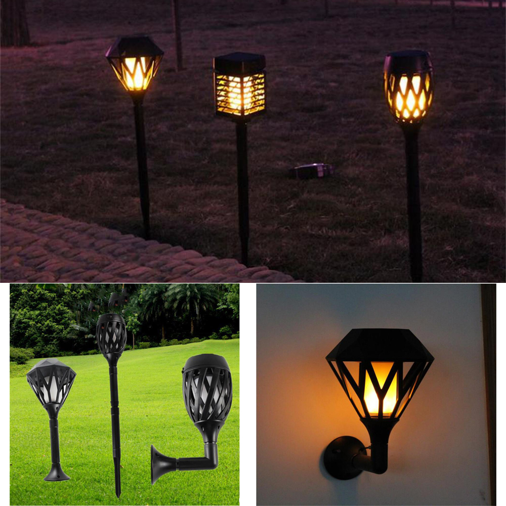 Solar powered LED Flame Lamp Waterproof LEDs Dancing Flickering Torch Light Outdoor USB Solar LED Fire Lights Garden Decoration