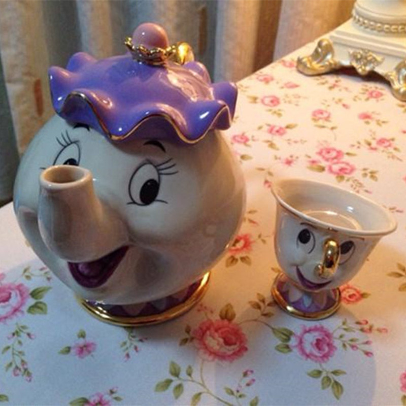 Cartoon Beauty And The Beast Teapot Mug Mrs Potts Chip Tea Pot Cup Ceramics Cogsworth Clock Cute Creative Xmas Gift Fast Post