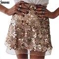 Smoves Sparkle Brillante Otoño Invierno Primavera Mujeres Malla Falda de Lentejuelas Una Línea de Mini Falda de Oro Plata Nuevo Tamaño S-XL SK132