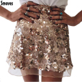 Smoves Sparkle Shinny Autumn Winter Spring Women Mesh Sequin Skirt A-Line Mini Skirt Gold Silver New Size S-XL SK132
