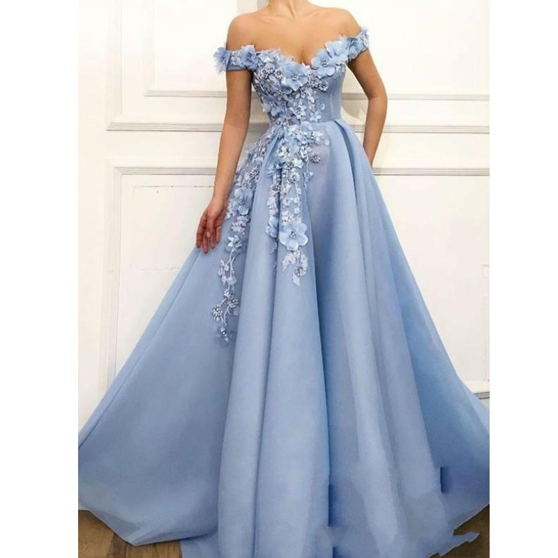 Pretty 2019 Sky Blue 3D Flower Evening Gowns Off The Shoulder Pearls A line Tutu Prom