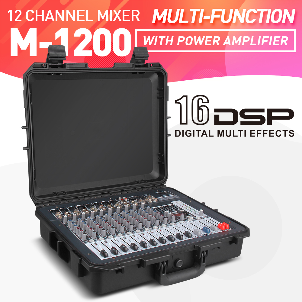 Good quality, Clean sound!!! 12 Channels 500 Watt Power amplifier Mixer Digital Portable Audio Mixing Console Phantom Power USB