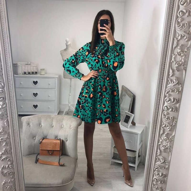 Sexy Leopard Dresses Women Winter Standing Collar Long Sleeve Elastic Waist Knee Length Print Pleated Party Dress vestidos in Dresses from Women 39 s Clothing