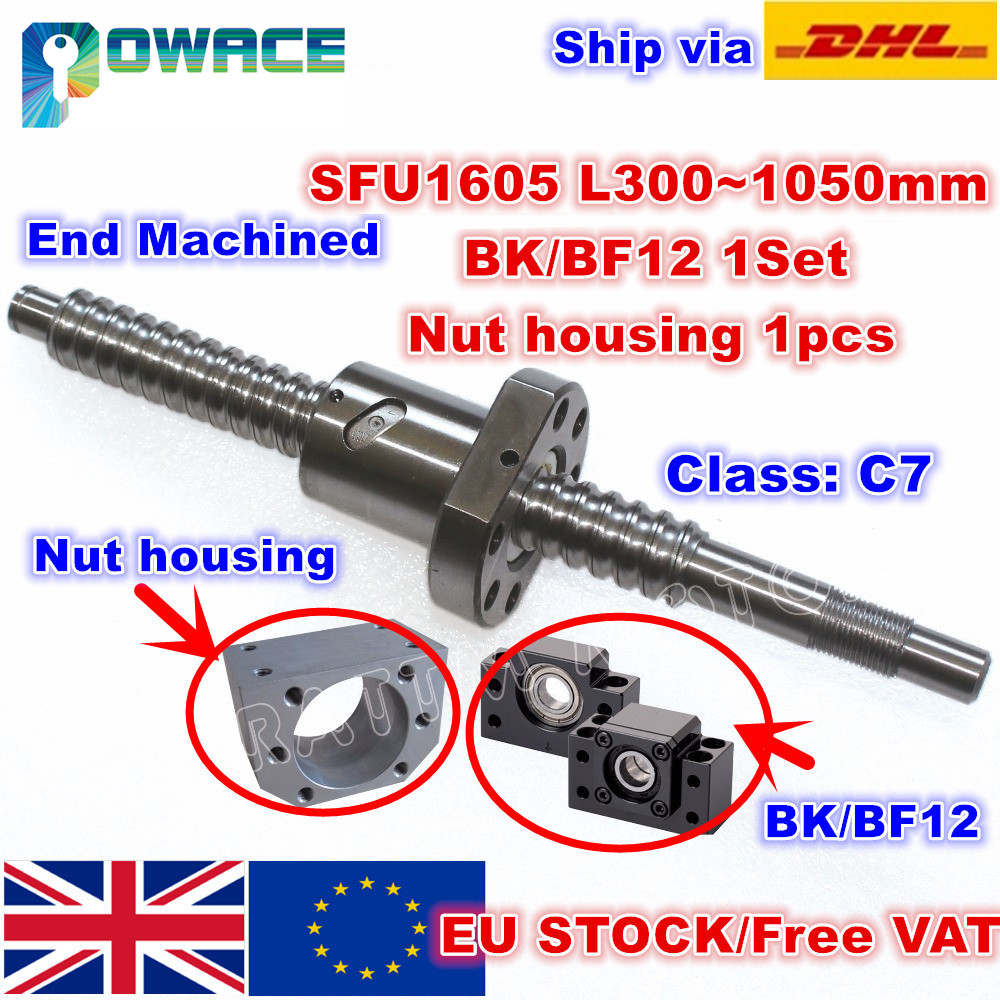 EU Stock SFU1605 Ballscrew L300mm 500mm 600mm 800mm 1050mm end Machined BK BF12 Support Nut