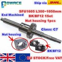 [EU Stock] SFU1605 Ballscrew L300mm/ 500mm/ 600mm /800mm /1050mm end Machined & BK/BF12 Support & Nut Housing CNC Router