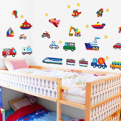 Wall Stickers Decals Mural Kids Removable Art Decal Home Vehicles Cars Planes Trains Bus Excavator Children Boy Love