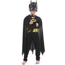Crianças meninos músculo com máscara manto fantasia vestido superhero outfits comic cosplay