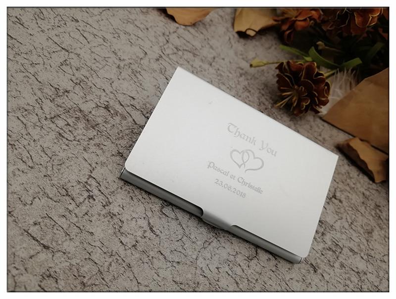 Mariée et marié personnalisé porte-porte-cartes professionnelles boîte en métal personnalisé mariage Favour Bomboniere merci cadeaux
