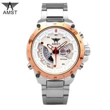 Función AMST Cuarzo Relogio masculino Reloj luminoso Impermeable de Acero Inoxidable Relojes Hombres Moda Casual Sport Relojes de Pulsera