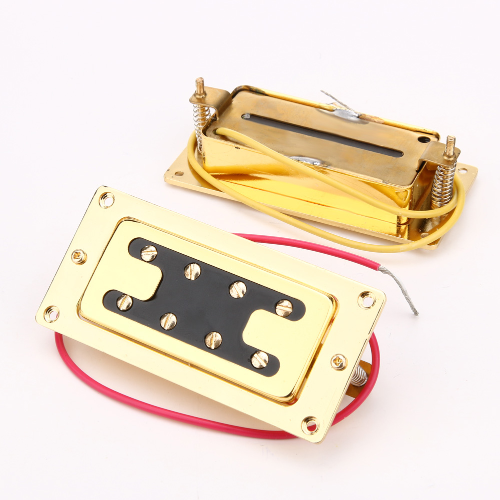 4 String Mini Guitar Pickup Humbucker Bridge Neck Set Adjustable Screw Pickups For Chrome Guitar Bass Accessories belcat electric guitar pickups humbucker alnico 5 humbucking bridge neck chrome double coil pickup guitar parts accessories