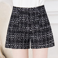 2016 High Quality New Hot Fashion Solid Black White Shorts Casual Fabric Crochet Women High Waist Shorts For Women M-4XL