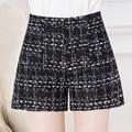 2016 High Quality New Hot Fashion Solid Black White Shorts Casual Fabric Crochet Women High Waist Shorts For Women M-4XL