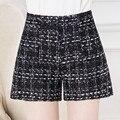 2016 de Alta Qualidade New Hot Moda Preto Sólido Branco Calções de Tecido de Crochê Mulheres Casuais Shorts De Cintura Alta Para As Mulheres M-4XL