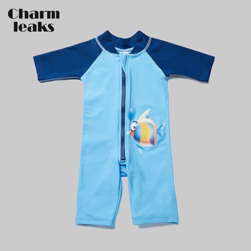 Charmleaks de uma peça do bebê menino zíper roupa de banho crianças rashguard maiô criança manga curta rash guard upf 50 + beach wear