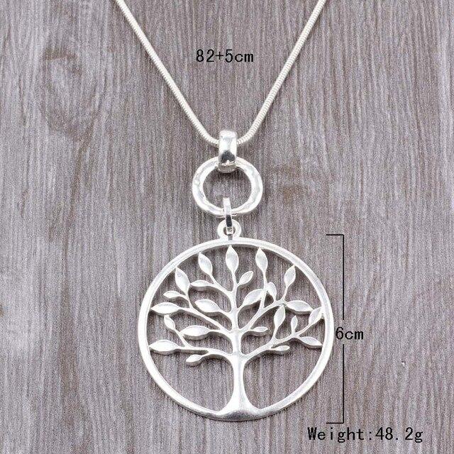 ELOYHI duże okrągłe drzewo życia długi wąż łańcuch wisiorki sweter płytka łańcuchowa dla kobiet Trendy Neckalce i wisiorki prezent