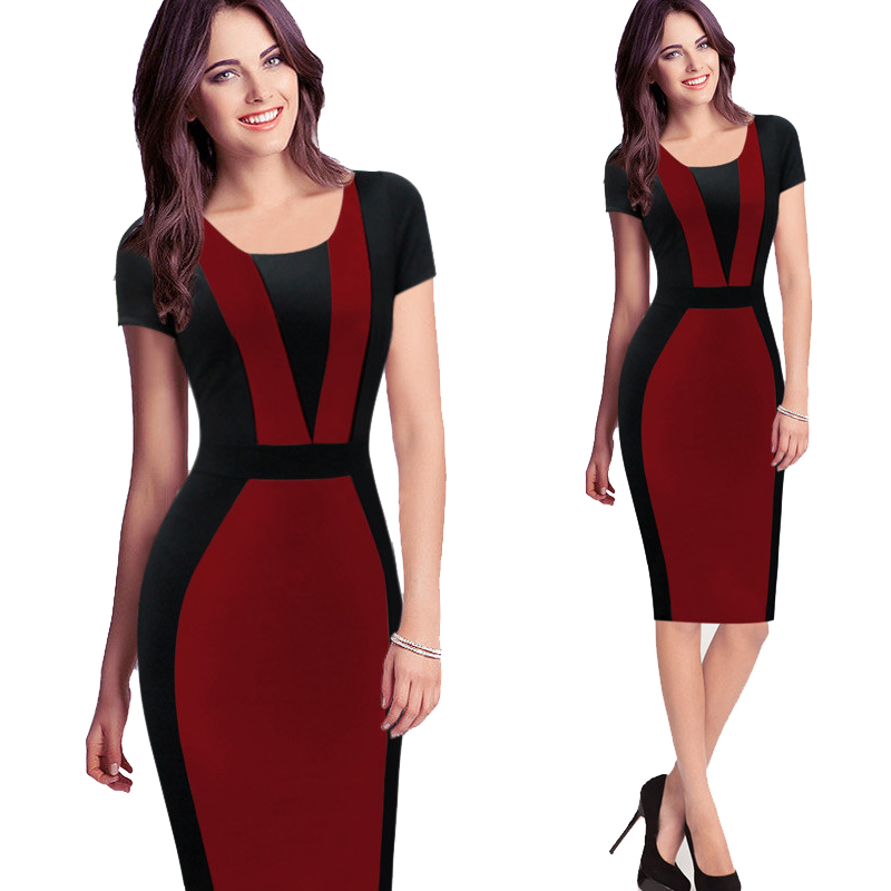 5ef5ed1d59739 US $13.56 49% OFF|2018 New Fashion Tunic Summer Dress Work Sheath Formal  Dresses for Work Bodycon Patchwork Club Sexy Dress Vestidos One piece-in ...