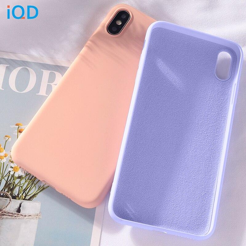 IQD Para iphone XR 7 Soft Case Capa de Silicone Líquido Fino Pano de Microfibra Almofada para iphone x xs max 8 7 Plus Caso Anti-Riscos
