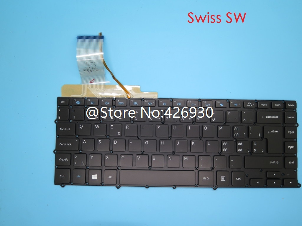 Keyboard For Samsung NP900X4B NP900X4C NP900X4D Swiss SW Belgium BE France FR Czech CZ Kingdom UK Turkey TR Portugal PO Backlit
