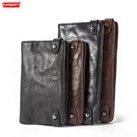 Retro mobile phone bag men's wallets long genuine leather document passport bag travel multi card sheepskin clutch bags wallets