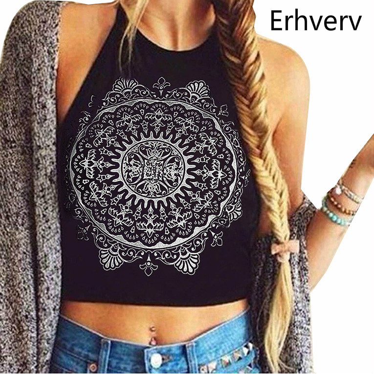 Erhverv 2018 Summer New Style European And American Wind Collar Necktie Lady T-shirt Printed Vest Sleeveless Garment Black Camis