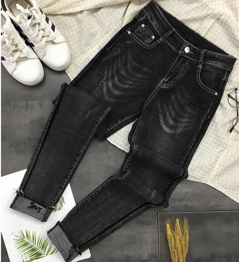 Printemps Jeans Cheville Street Long 2019 Couleur Décontracté Chic Style Z912 De Solide Maigre Pantalon Coréenne Black Poches Longueur Mode Pour Femmes iOkuPXZ