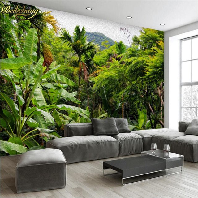 Beibehang Retro Tropical Rainforest Wallpaper Hotel Living Room 3D Mural  Landscape Photo Wall Paper Eco
