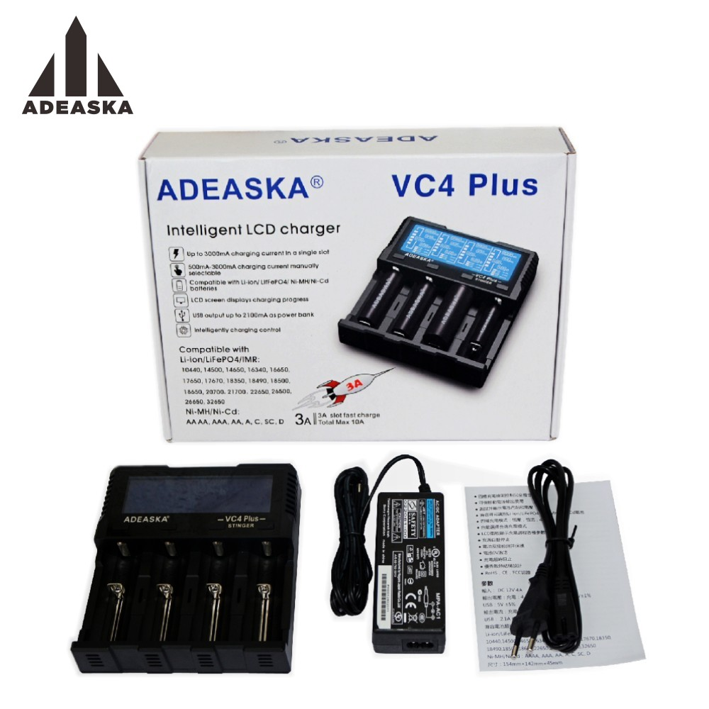 ADEASKA VC4 PLUS C4 VC4 LCD Smart Battery Charger for Li-ion/IMR/INR/ICR/LiFePO4 18650 14500 26650 AA 3.7 1.2V 1.5V Batteries D4ADEASKA VC4 PLUS C4 VC4 LCD Smart Battery Charger for Li-ion/IMR/INR/ICR/LiFePO4 18650 14500 26650 AA 3.7 1.2V 1.5V Batteries D4