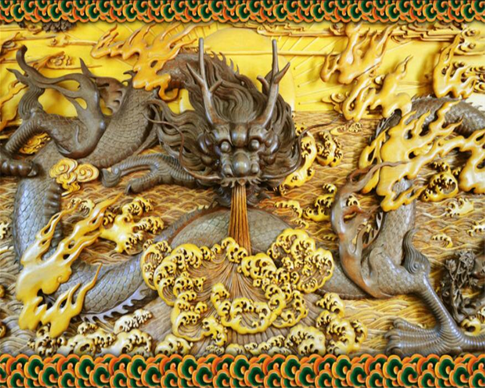 Beibehang 3D Wallpaper Stone Carving Wood Carving Dragon