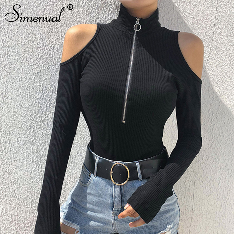 Simenual Turtleneck zipper bodysuits with open soulders 2018 long sleeve bandage black   jumpsuit   fashion sexy bodysuit women sale