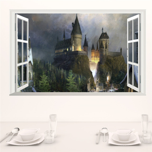 Magic Harry Potter Wall Stickers Poster 3D Window Hogwarts Decorative Wall Decals Wizarding World School For Kids Bedroom Decal 2