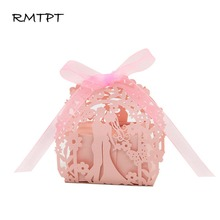 RMTPT 50Pcs/lot 2019 NEW Laser Cut Favor Boxes Party Wedding Ribbon Candy Gift Box (Bride and Groom)