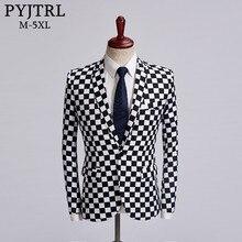 PYJTRL Flut Männlich Schwarz Weiß Plaid Blazer Design Herren Plus Größe Mode Anzug Jacke Sänger Kostüm Homme Slim Fit Outfit
