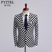 PYJTRL Tide Blazer pour Homme, à carreaux, noir et blanc, grande taille à la mode, Costume de chanteur, tenue Slim pour Homme