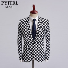 Pyjtrl Tij Man Zwart Wit Plaid Blazer Ontwerp Mens Plus Size Fashion Jasje Zanger Kostuum Homme Slim Fit Outfit