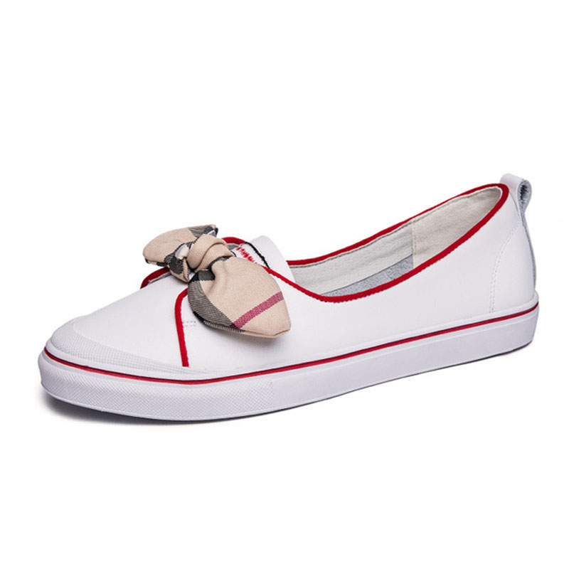2018 Women Sneakers Geniune Leather Brand Shoes Butterfly Knot Ladies White Shoes Shallow Female Cutouts Single Shoes Women rizabina concise women sneakers lady white shoes female butterfly cross strap flats shoes embroidery women footwear size 36 40
