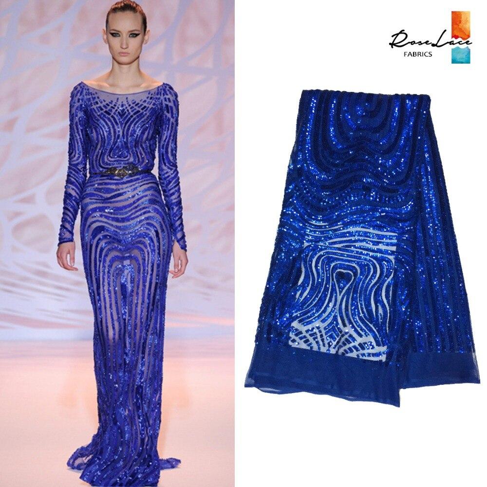 Royal Blue Pailletten Spitze Stoff Indien Mesh Hochzeitskleid Stoff ...