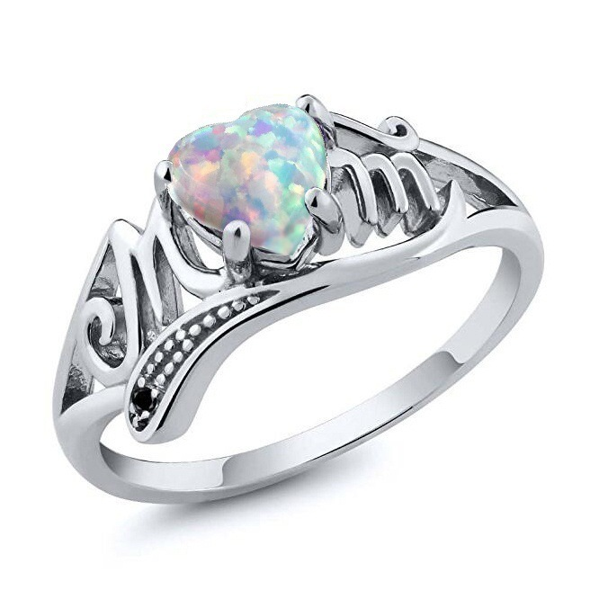 2 Color Hot Selling Heart Opal Stone Silver Color Rings Fashion Jewelry For Women and Mom Party Birthdays Gift ...
