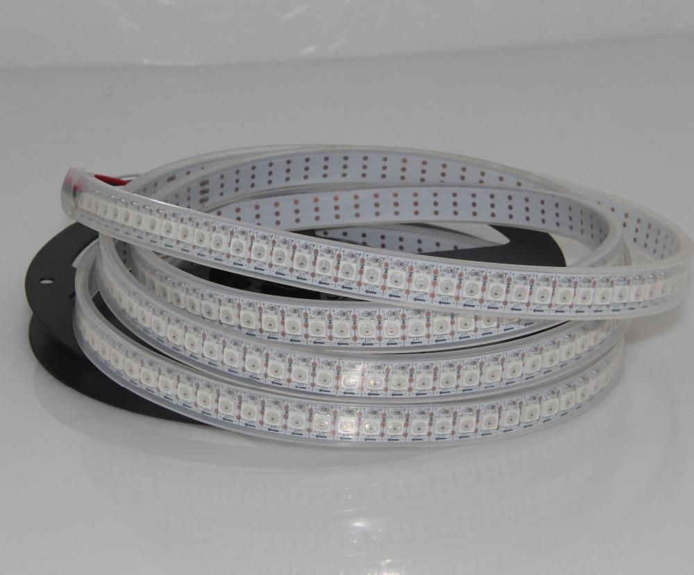 2 M blanc/noir PCB 144 Pixel/M WS2812B WS2812 2812 SMD 5050 bandes de pixel LED rvb lumière pas étanche IP44 + 10 contrôleur RF clé