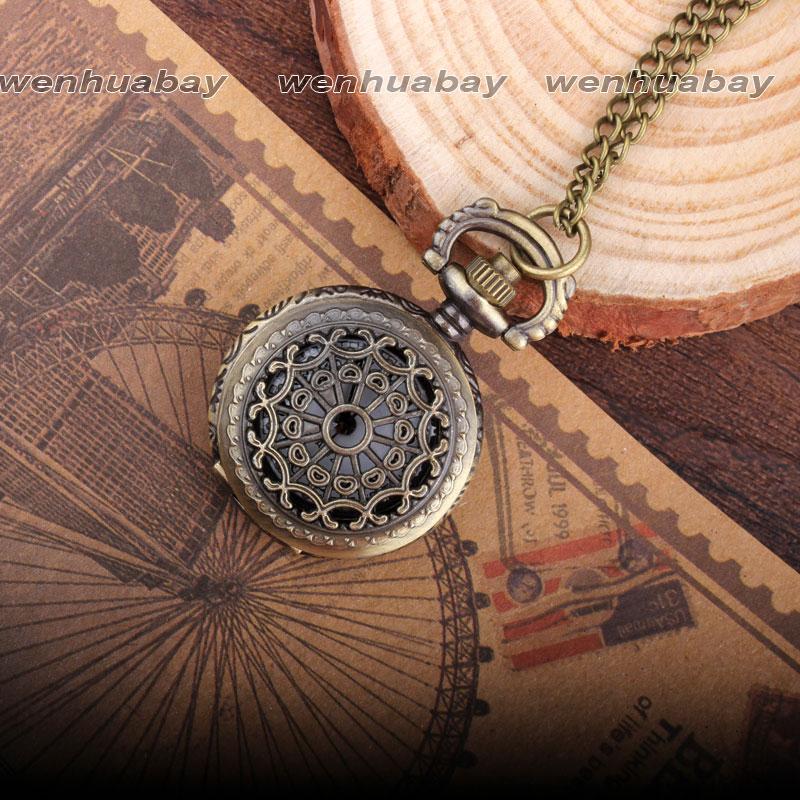 Bronzen Spinneweb Hollow Necklace Mens Vintage Quartz zakhorloge - Zakhorloge - Foto 4