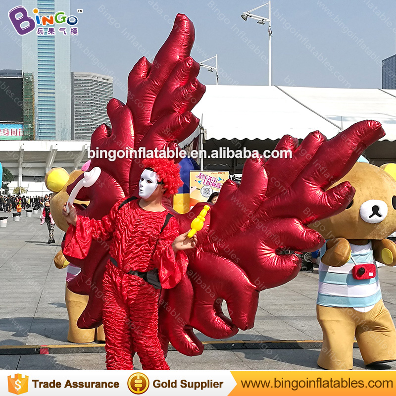 Free shipping 2X2 M red inflatable angel wings inflatable wings costume for promotion vivid butterfly wings clothing stage toys - 6