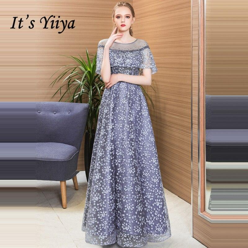 It's Yiiya Evening Dress O-Neck Plus Size Half Sleeve Robe De Soiree Lace Beading A-Line Floor-Length Women Party Dresses LX1031