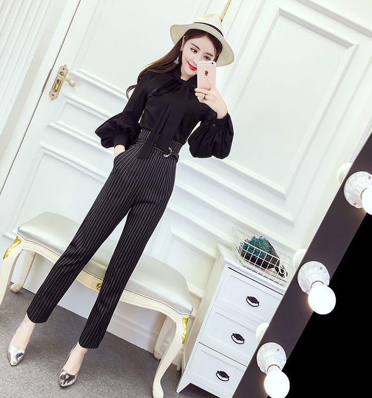 Women's 2018 Spring and Autumn new style chiffon blouse career wear stripes striped straight jeans Fashionable Set 7