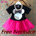 Girls suits, summer T-shirt + skirt + necklace 3pcs suit cartoon party tutu veil suit girls clothing set free shipping