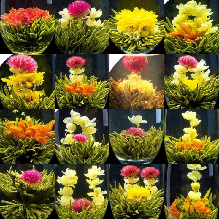Promotion individual vacuum package 16 kinds blooming tea artistic blossom flower tea free shipping