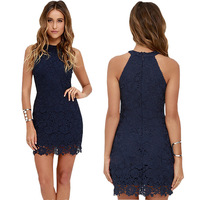 Womens Lace Dress Elegant Wedding Party Sexy Night Club Halter Neck Sleeveless Sheath Bodycon Off the Shoulder Dress