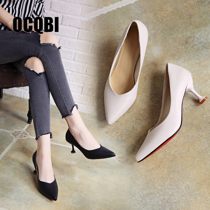 2019 Women Pointed Toe Pumps Beige Shoes 39 6cm Sexy High Thin Heels Shoes Ladies Shallow Low Heels Wedding Shoes